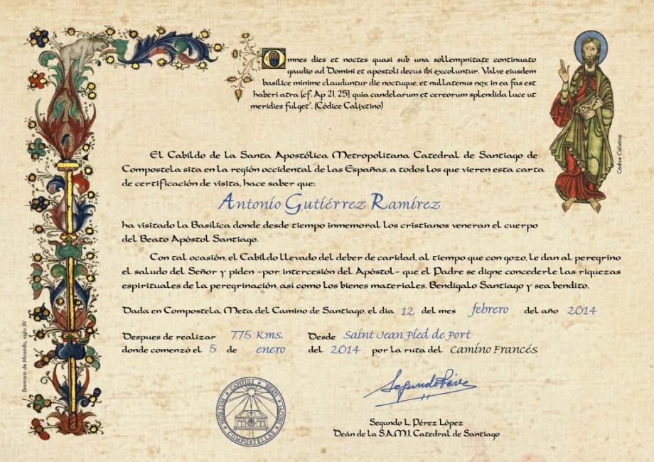 Certificado de distancia del Camino de Santiago