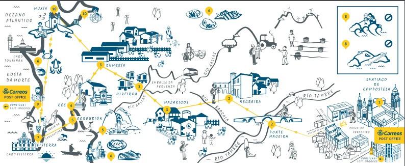 Mapa de Correos con las cosas qué hacer y no hacer en el Camino a Fisterra y Muxía
