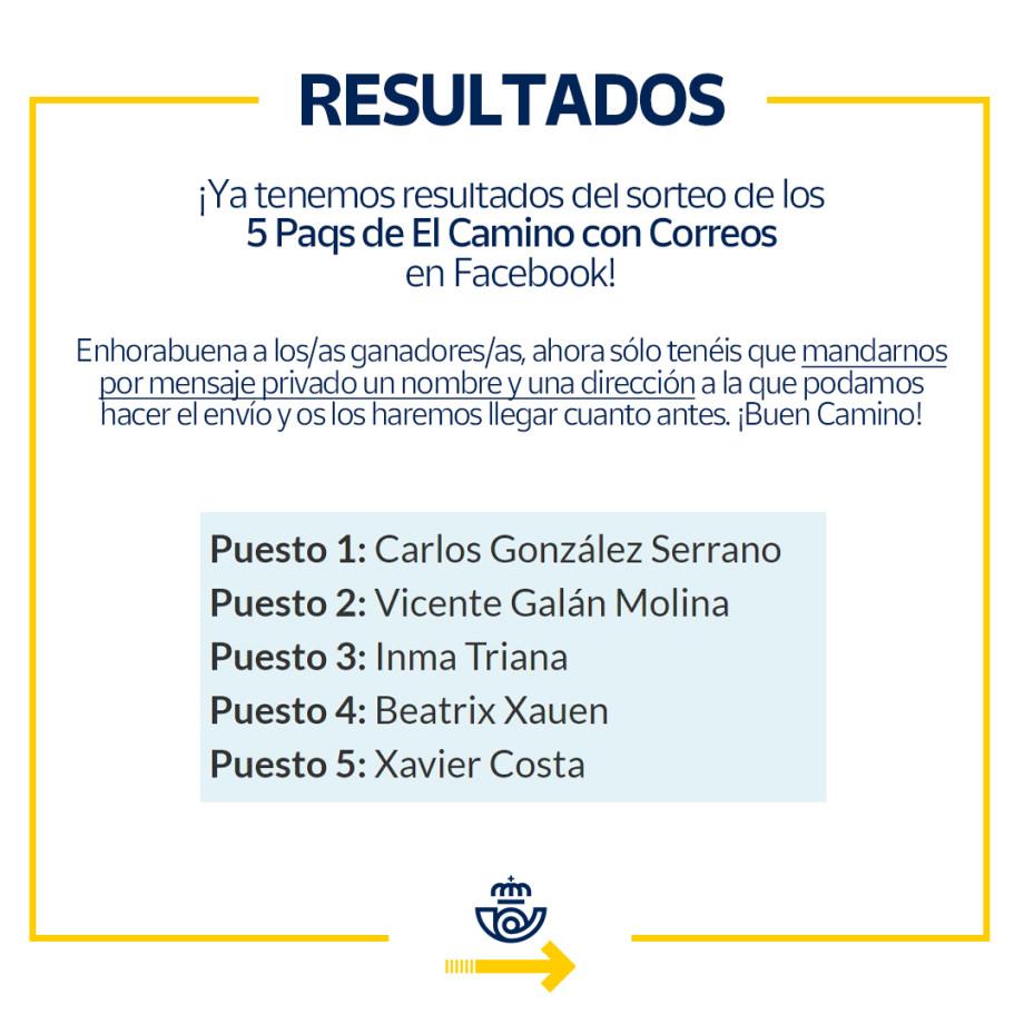 Ganadores del sorteo en Facebook de 5 Paqs de El Camino con Correos
