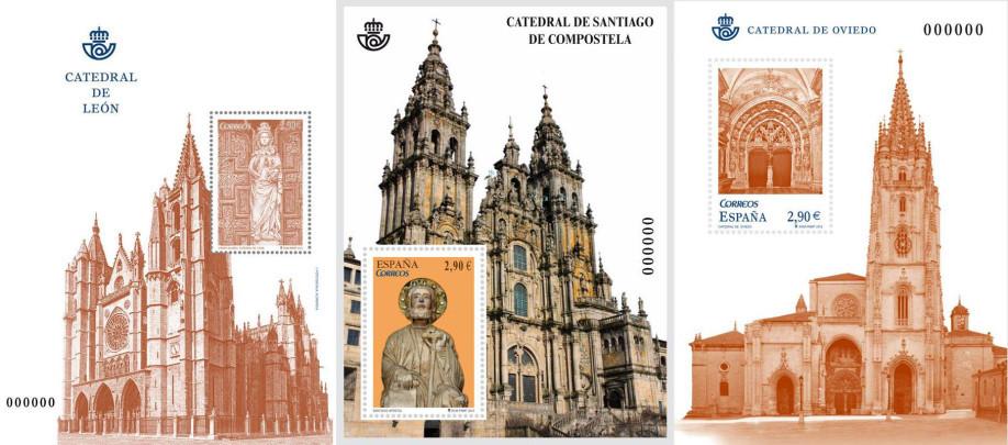Sellos dedicados a las Catedrales del Camino de Santiago