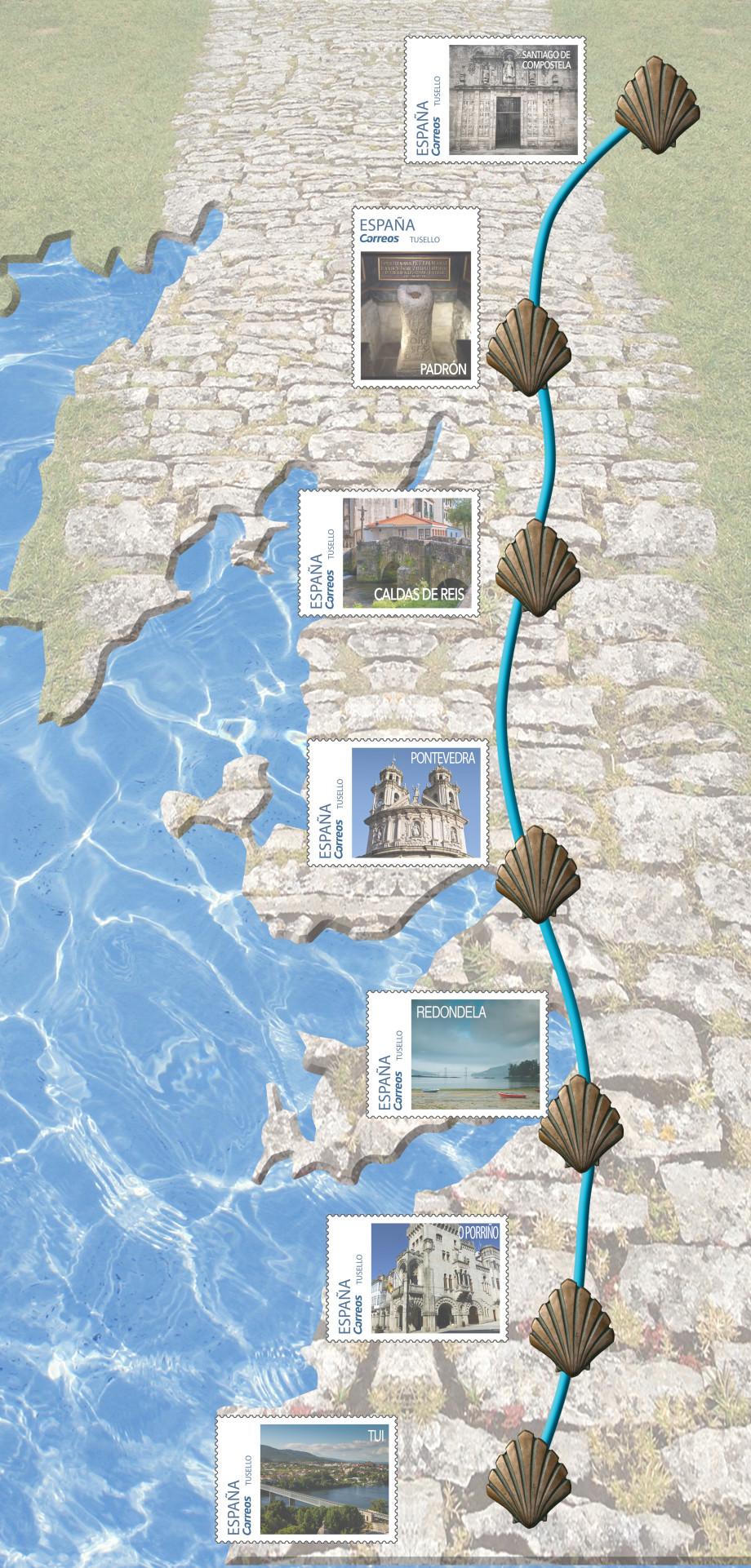 Tarjeta del Camino Portugués con los Sellos de cada etapa