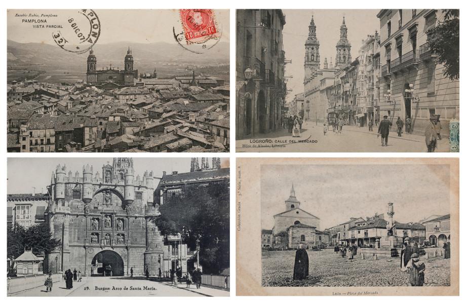 Postales antiguas de algunas ciudades jacobeas: Pamplona, Logroño, Burgos y León
