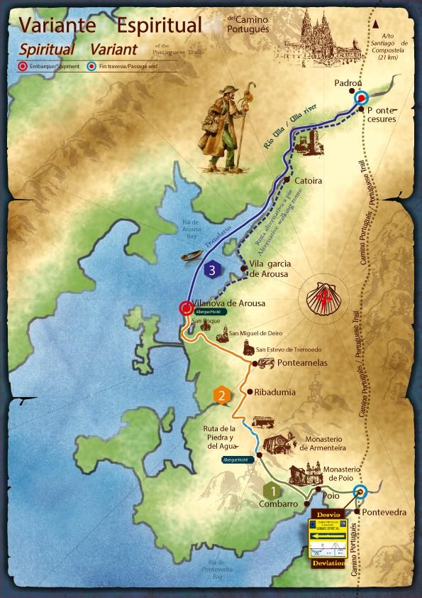 Mapa de la Variante Espiritual del Camino Portugués