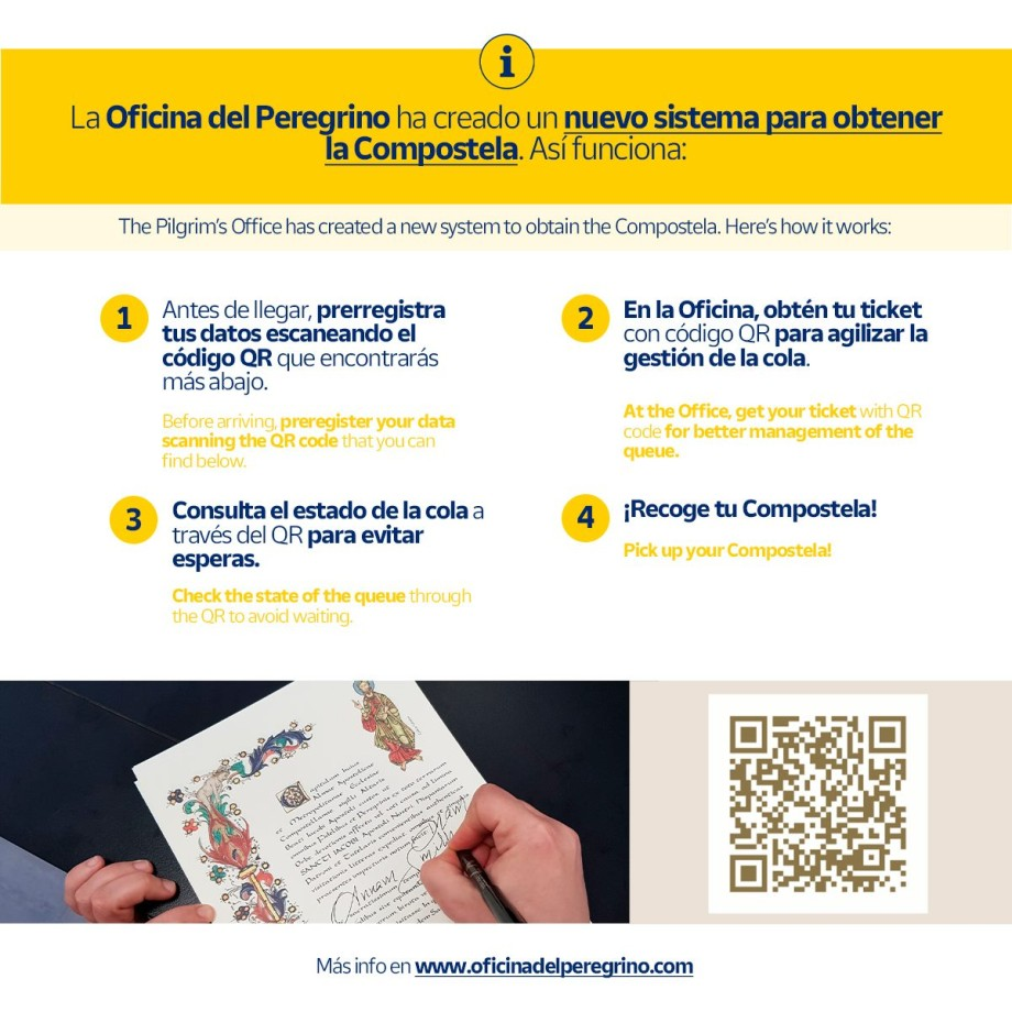 New system to obtain the Compostela at the Pilgrim's Office