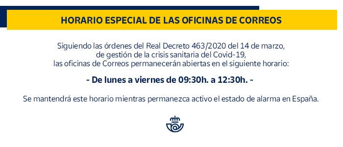 Horario especial das oficinas de Correos polo Covid-19