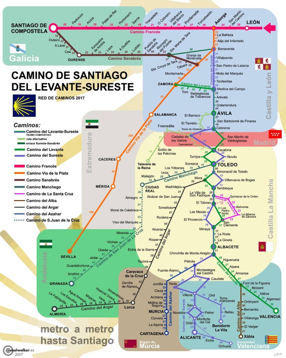 Mapa del Camino de Santiago del Levante - Sureste