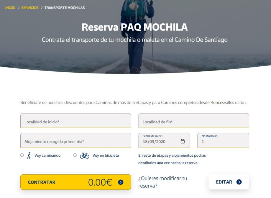Formulario de contratación online del Paq Mochila