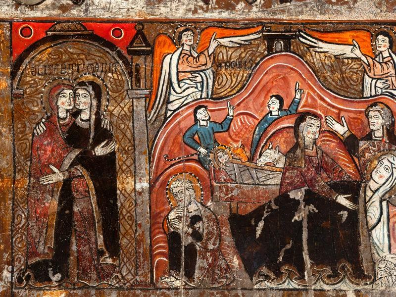 Pintura de Santa María de Iguacel sobre la translatio del Apóstol Santiago