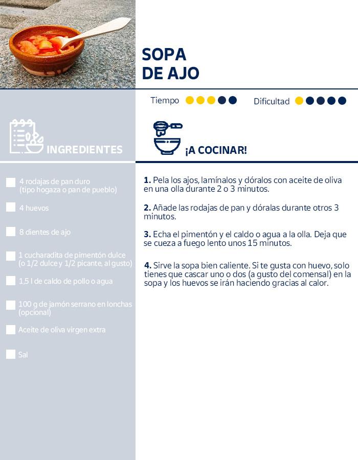 Receta de la sopa de ajo, plato típico del Camino de Santiago