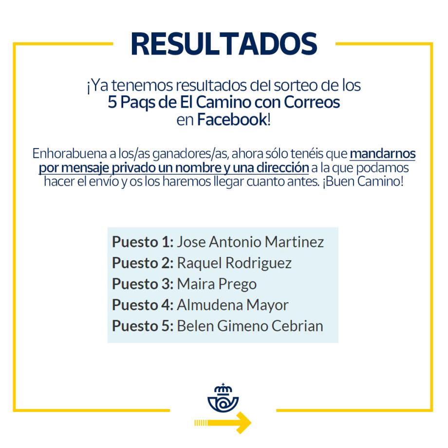 Ganadores del sorteo de un Paq para el Camino de Santiago en Facebook