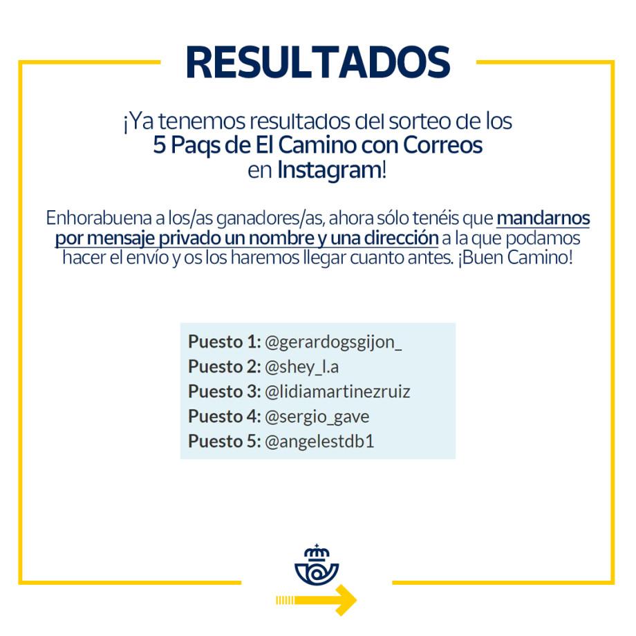 Resultados del sorteo de un Paq para el Camino de Santiago en Instagram