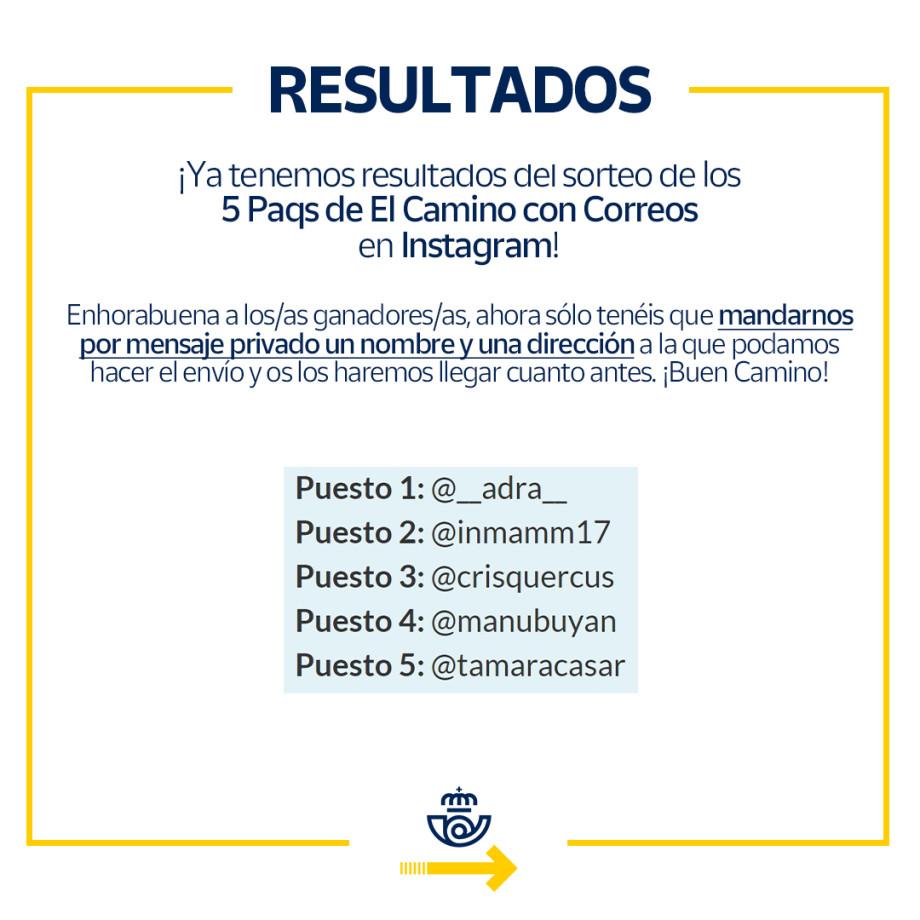 Ganadores en Instagram de 5 Paqs para el Camino de Santiago