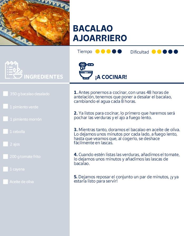 Receta del Bacalao ajoarriero, plato típico del Camino de Santiago