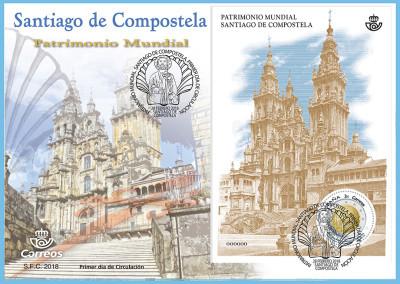 Sello dedicado a Santiago, patrimonio de la Humanidad