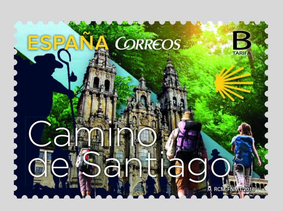 Sello de Correos dedicado al Camino de Santiago en 2016