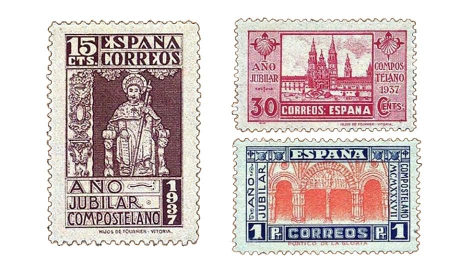Sellos dedicados al Año Santo Compostelano en 1937