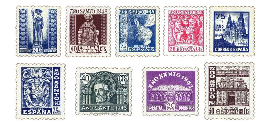 Sellos dedicados al Año Santo Compostelano en 1943