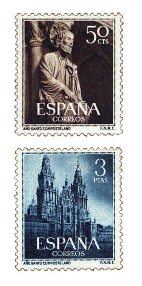 Sellos dedicados al Año Santo Compostelano en 1945
