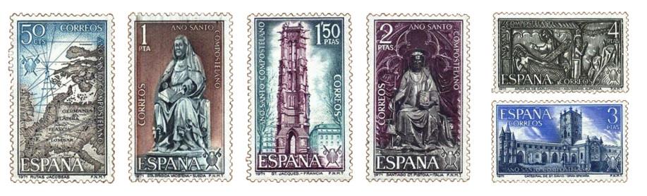 Sellos dedicados al Año Santo Compostelano en 1971 con motivos internacionales