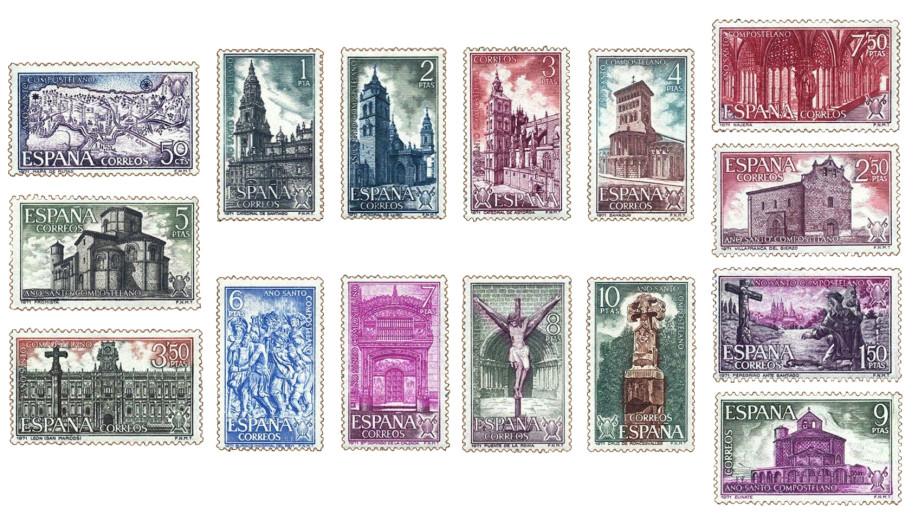 Sellos dedicados al Año Santo Compostelano en 1971 con iconos del Camino en España
