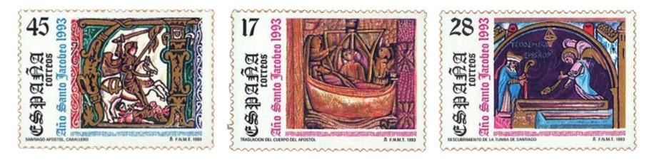Sellos dedicados al Año Santo Xacobeo en 1993 dedicados a la Traslatio e Inventio