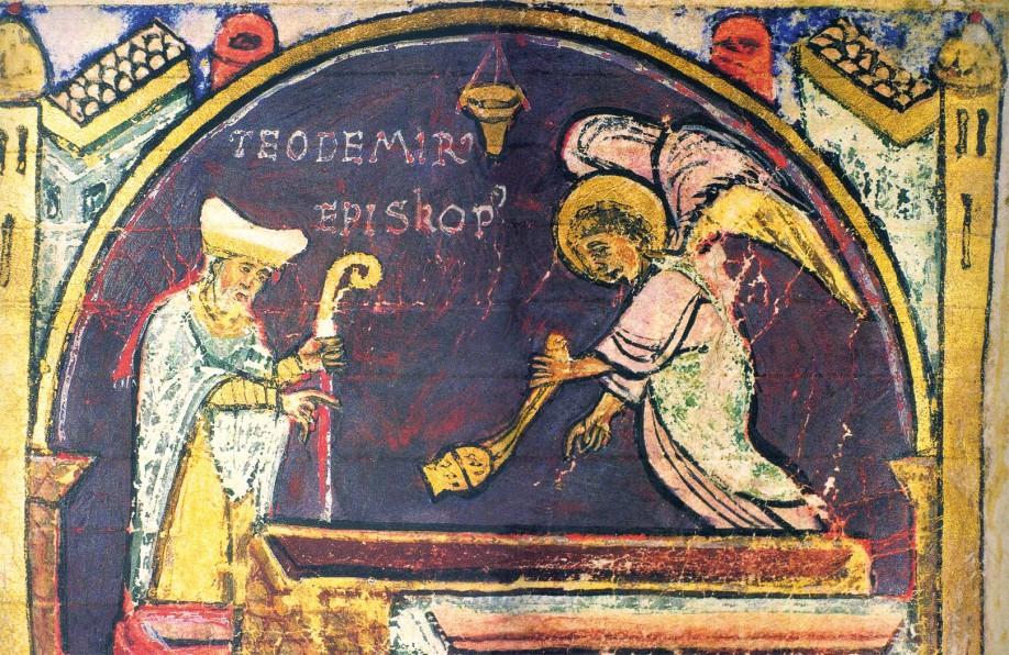 Pintura que representa el momento en que el obispo Teodomiro encuentra la tumba del Apóstol