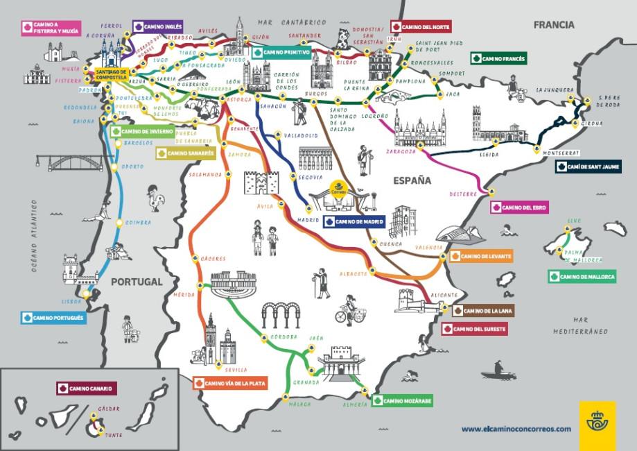 The Camino de Santiago on maps