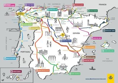 El Camino de Santiago en mapas