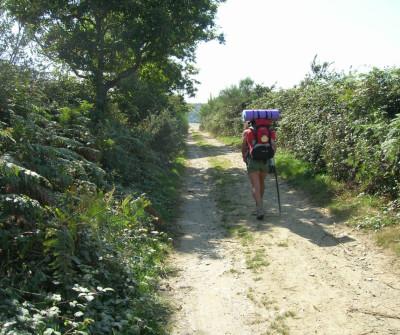 Peregrino caminando hacia Lousada, Camino del Norte