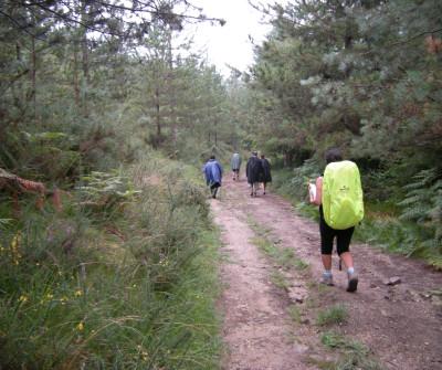 Peregrinos en el Camino del Norte entre Deba y Markina