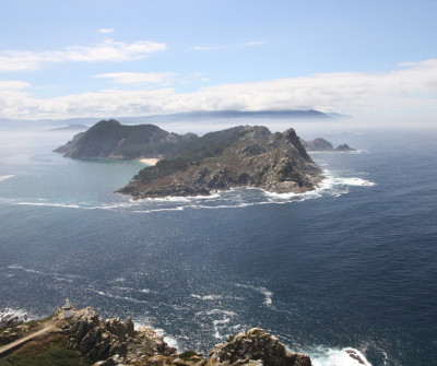 Vistas de las Islas Cíes desde el Camino Portugués por la Costa