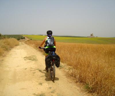 Bicigrina en la Vía de la Plata